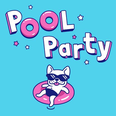 Pool Party with funny cartoon dog in sunglasses on pool float. Summer party invitation or poster vector illustration. Vectores