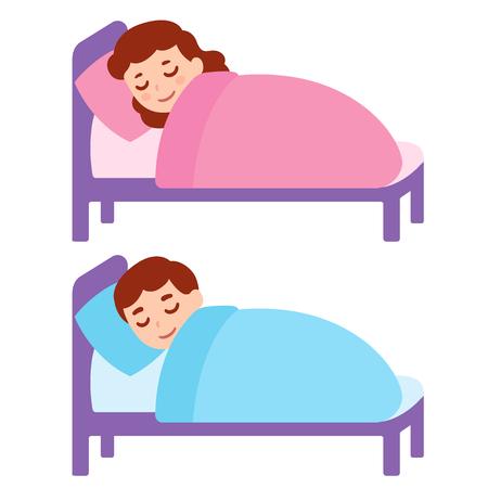 かわいい漫画の女の子とベッドで眠っている男の子。眠っている小さな子供、ベクトルイラスト。