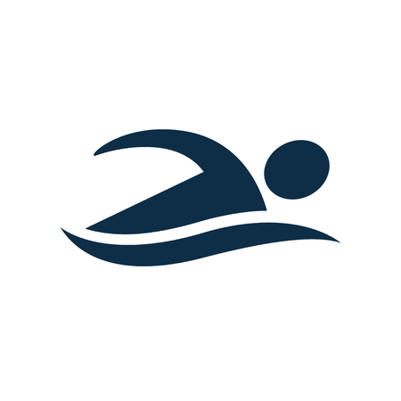 Simple swimming icon with swimmer figure silhouette and water wave. Swimming pool and water sports vector symbol.