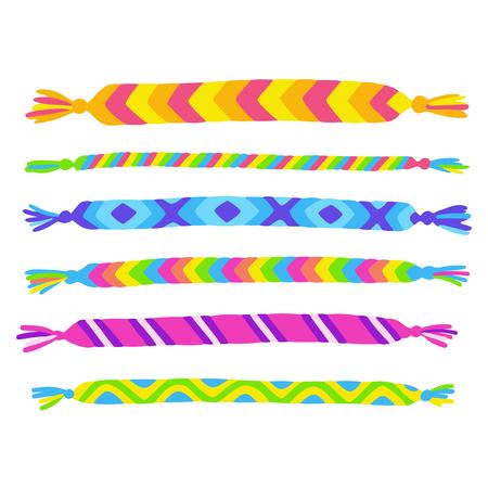 Bright handmade friendship bracelets set. Cute rainbow colored yarn crafts, vector illustration collection.