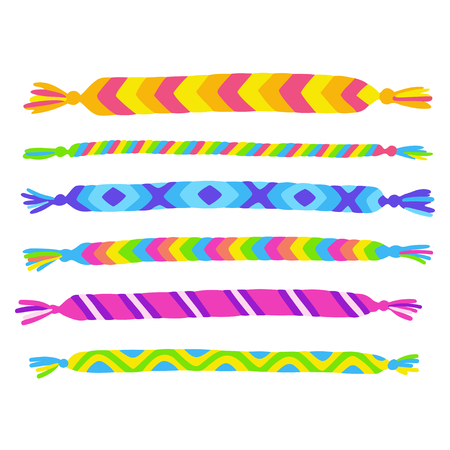 Bright handmade friendship bracelets set. Cute rainbow colored yarn crafts, vector illustration collection.