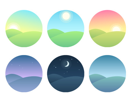 Nature landscape at different times of day. Soft gradients, simple and modern vector illustration set. Çizim