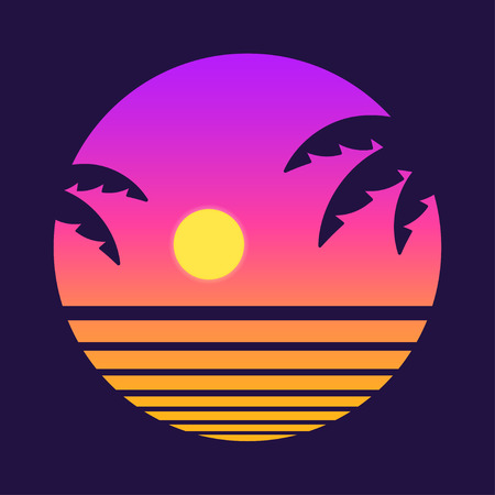 Por do sol tropical do estilo retro com silhueta da palmeira e fundo do inclinação. Ilustração em vetor design clássico dos anos 80. Ilustración de vector