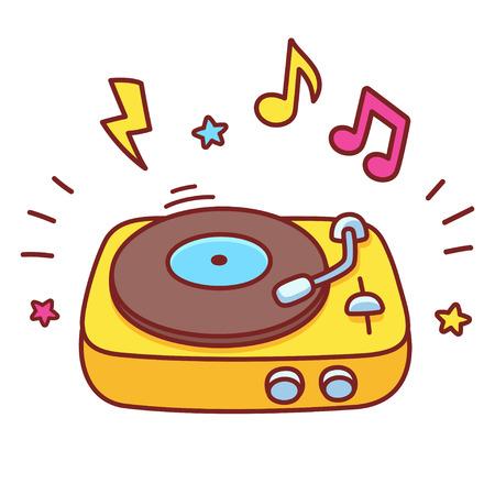 Cartoon hand drawn retro vinyl record player. Disco DJ turntable playing music, bright vector illustration.