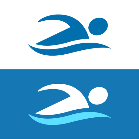 Simple stylized swimmer icon with abstract athlete figure and blue wave. Swimming pool and water sports vector icon, two color variants.