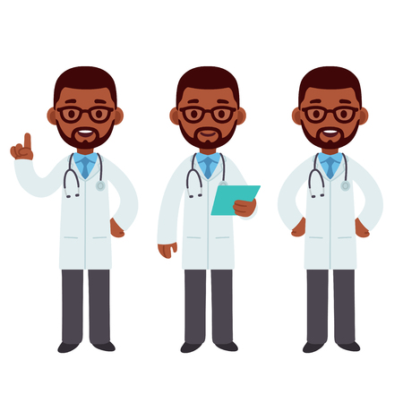 Male black African American doctor set. Standing, smiling and pointing. Cute cartoon medical character vector illustration. Illustration
