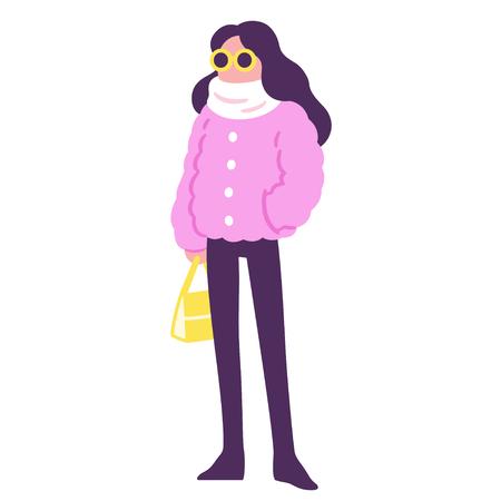 Cartoon hipster girl in pink fur coat. Winter fashion vector illustration.