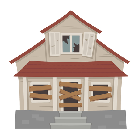 Old abandoned house cartoon vector illustration. Decaying suburban cottage with broken windows.