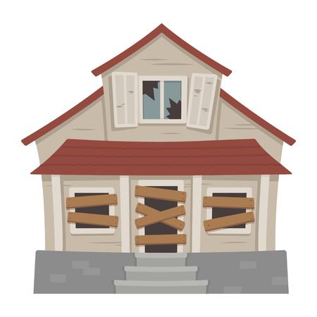 Illustration vectorielle de vieille maison abandonnée cartoon Cottage de banlieue en décomposition avec des fenêtres cassées.