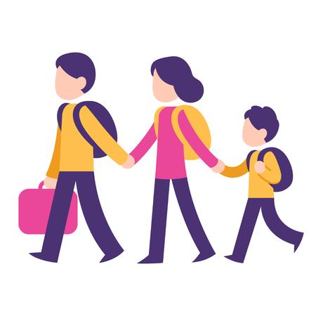 가족 여행, 두 부모와 배낭과 가방 아이. 이민 개념 벡터 일러스트 레이 션, 현대적인 스타일 된 플랫 스타일. 일러스트
