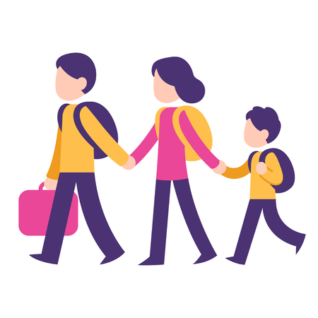 Cartoon family traveling, two parents and child with backpacks and suitcase. Immigration concept vector illustration, modern stylized flat style.