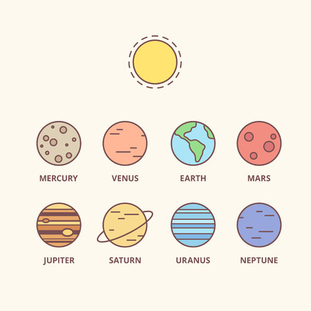 Solar system planets and sun, vector line icons. Simple cartoon space icon set.
