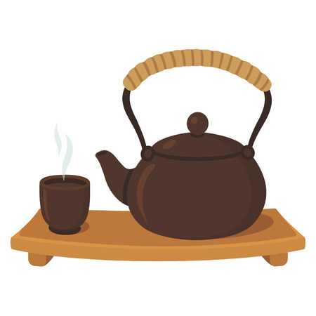 Japanese tea ceremony drawing set. Ceramic teapot and a steaming cup of green tea on wooden board. Isolated vector illustration.
