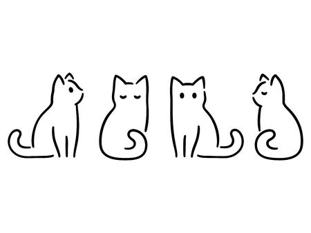 Jeu de dessin de chats minimalistes. Griffonnages de chat dans un style abstrait dessiné à la main, illustration vectorielle de dessin au trait noir et blanc.