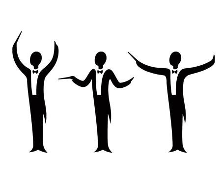 Zestaw ilustracji wektorowych dyrygent orkiestry muzycznej. Stylizowana sylwetka w smokingu z różnymi gestami ramion. Ilustracje wektorowe