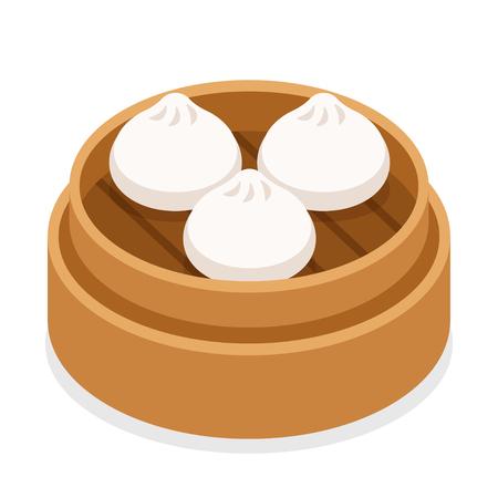 Dim sum, albóndigas chinas tradicionales, en una cesta de vapor de bambú. Ilustración de vector de comida asiática.