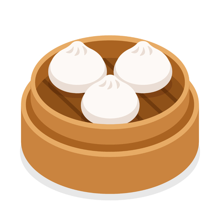 Dim sum, traditional Chinese dumplings, in bamboo steamer basket. Asian food vector illustration. Çizim