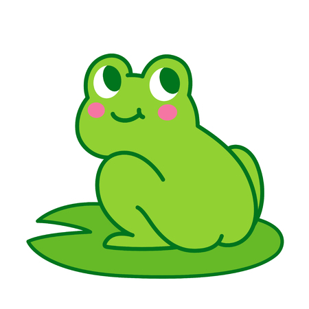 Cute cartoon frog butt drawing. Funny illustration for children, vector clip art. Çizim