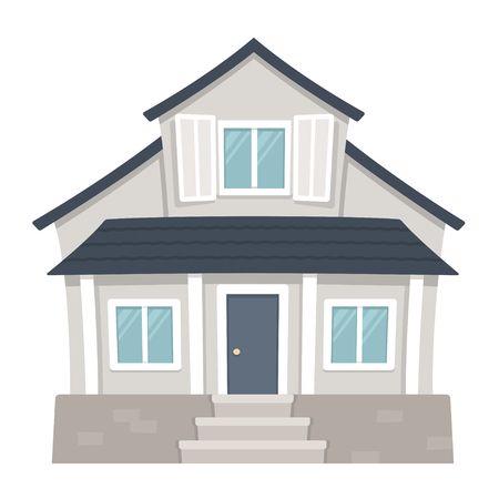 Classic American family house cartoon drawing. Traditional suburban home vector illustration.