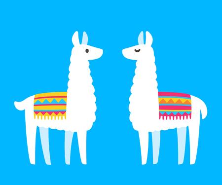 Two cute cartoon Llamas. South American animal bright and simple drawing. Vector llama couple illustration.  イラスト・ベクター素材