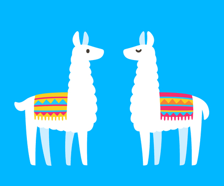 Two cute cartoon Llamas. South American animal bright and simple drawing. Vector llama couple illustration. Vettoriali