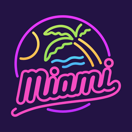 Retro neon sign, Miami beach and palm tree. 80s style vector illustration.
