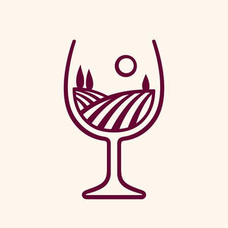 Paysage de vignoble stylisé en forme de verre à vin, illustration vectorielle. Logo de cave monochrome moderne.
