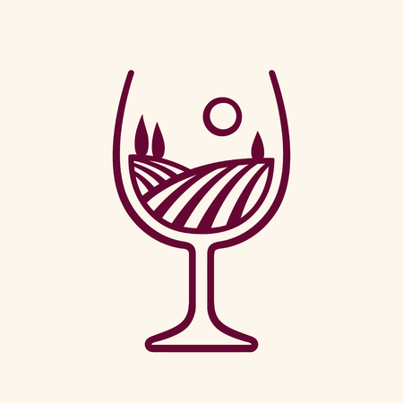 Stylized vineyard landscape in wine glass shape, vector illustration. Modern monochrome winery logo. Çizim