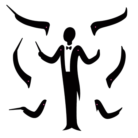 Music orchestra conductor constructor set. Stylized silhouette in tuxedo suit with hands in different poses. Character creation for animation, vector illustration. Vettoriali