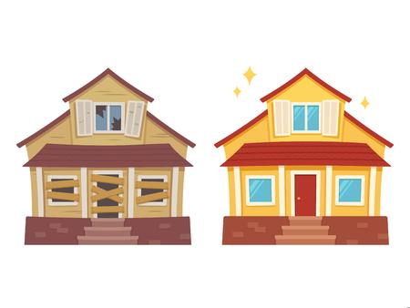 Renovación de la casa superior del fijador antes y después. Antigua casa en ruinas remodelada en linda casa suburbana tradicional. Ilustración de vector aislado, estilo de dibujos animados plana
