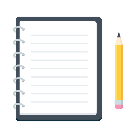 Blank spiral notebook and pencil, flat vector illustration. Simple notepad planner template.