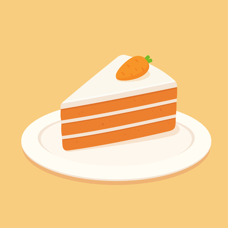 Carrot cake slice with cream cheese frosting and marzipan carrot decoration. Flat design vector clip art illustration.