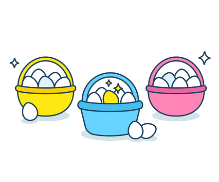 Eggs in different baskets. Metaphor for business and investment portfolio diversification strategy. Modern flat vector style illustration. Çizim