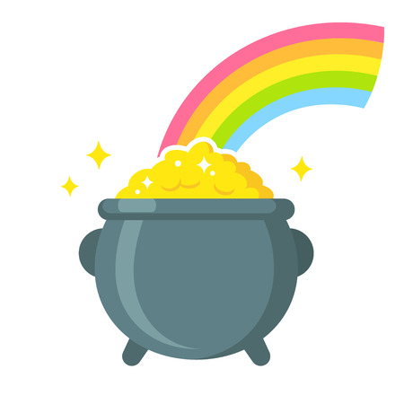 Pot of leprechaun gold at the end of rainbow.