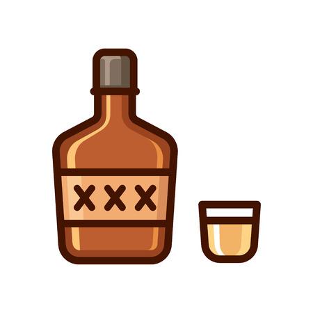 Cartoon bottle of liquor and shot glass icon. Shiny flat vector illustration, alcohol icon. Ilustração