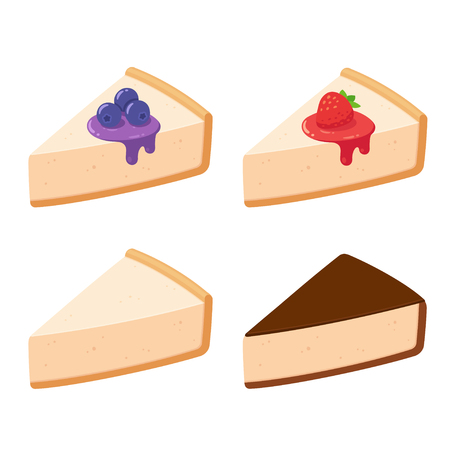 Cheesecake slices set with different toppings. Fruits and syrup (blueberry, strawberry), plain vanilla and chocolate glazed. Isolated vector clip art illustration.