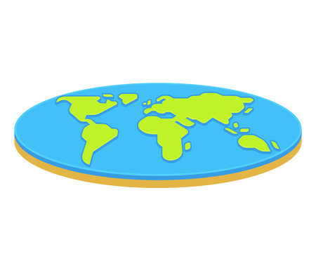 Flat earth concept illustration. Ancient cosmology model and modern pseudoscientific conspiracy theory. Isolated vector clip art.