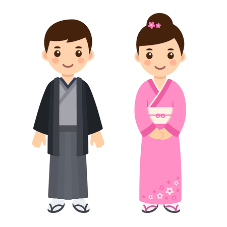 Cute little boy and girl couple in national costume of Japan. Cartoon children in traditional Japanese kimono. Vector clip art illustration.