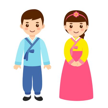 Linda pareja de niño y niña en traje nacional de Corea del Sur. Niños de dibujos animados con ropa tradicional de año nuevo coreano. Ilustración de arte de clip de vector. Ilustración de vector