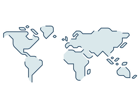 Simple stylized world map. Continents silhouette in minimal line icon style. Isolated vector illustration. Stock Illustratie