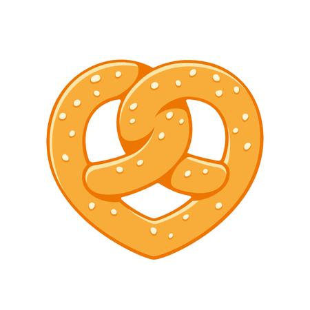 Heart shaped soft pretzel, traditional German baked bread. Love pretzels vector illustration, bakery logo.