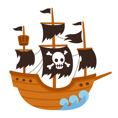 Cartoon pirate ghost ship illustration with skull flag and torn black sails. Cute vector drawing.