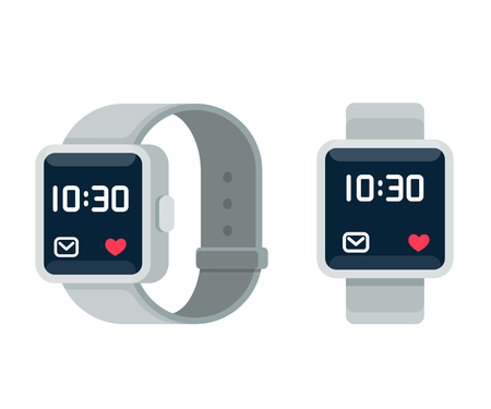 Smart watch illustration, flat cartoon vector style design. Modern wearable device, touchscreen technology.