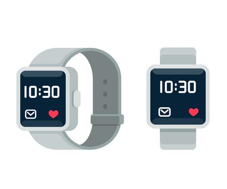 Smart watch illustration, flat cartoon vector style design. Modern wearable device, touchscreen technology.