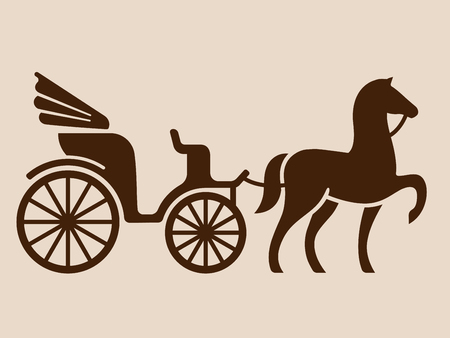 Vintage horse drawn carriage. Stylized silhouette of horse and passenger buggy.