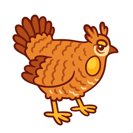 Cartoon Prairie chicken drawing. Rare endangered North American wild bird.