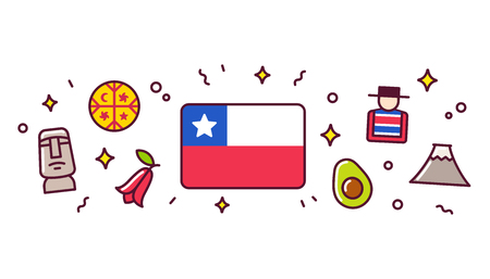 Chile banner design elements. Chilean flag surrounded with traditional signs and symbols. Vector clip art illustration, cute cartoon style. Vettoriali