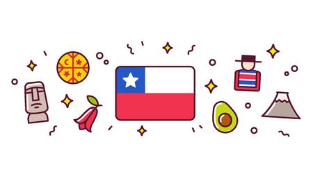 Elementos de diseño de banner de Chile. Bandera chilena rodeada de signos y símbolos tradicionales. Vector ilustración de imágenes prediseñadas, estilo de dibujos animados lindo. Ilustración de vector