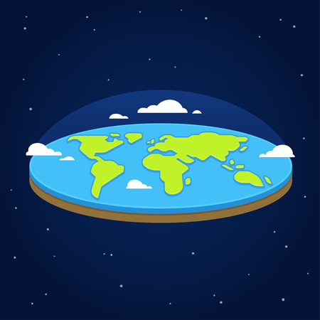 Flat earth in space with Ancient cosmology model and modern pseudo scientific conspiracy theory. Illustration