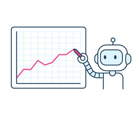 Cute cartoon robot drawing line chart. Stock market trading or business analytics presentation. Illustration